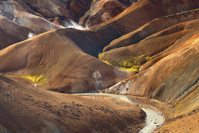 Icelandic geothermal landscape in remote highlands