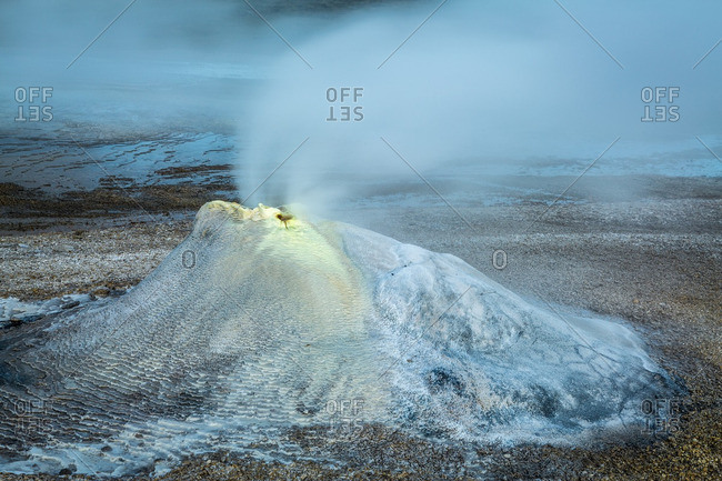 Icelandic geothermal fumarole in the remote Kjoslur highlands