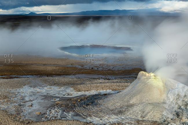 Icelandic geothermal pool and fumarole in the remote Kjoslur highlands