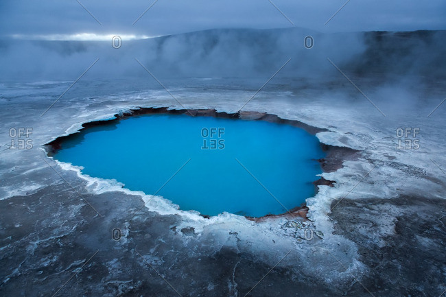 Icelandic geothermal pool in the remote Kjoslur highlands