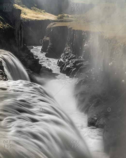 Icelandic waterfall plunging into ravine at Gullfoss
