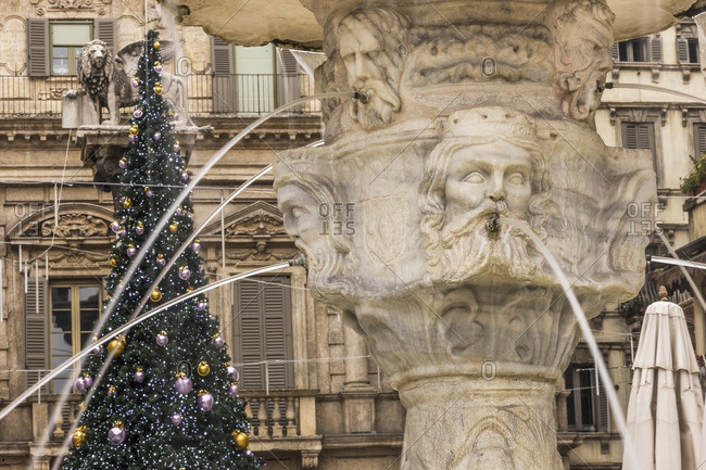 Piazza delle Erbe and detail of the Fontana Madonna Verona and Christmas tree, Verona, Italy