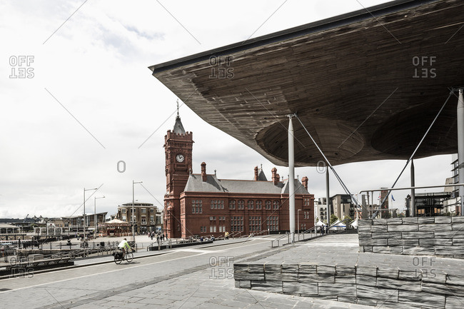 The Pierhead building and the Senedd (National Assembly Building) in Cardiff Bay, Wales
