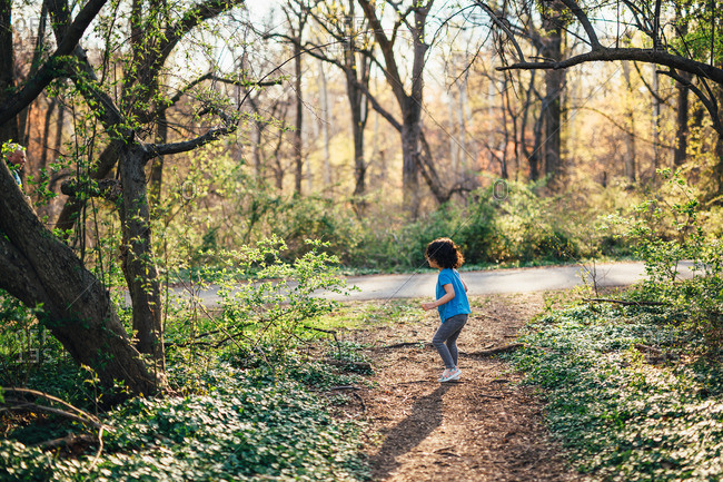 Child standing along a woodland path