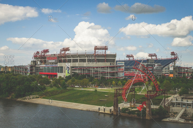 Nashville, TN - August 11, 2016: Waterfront sports stadium