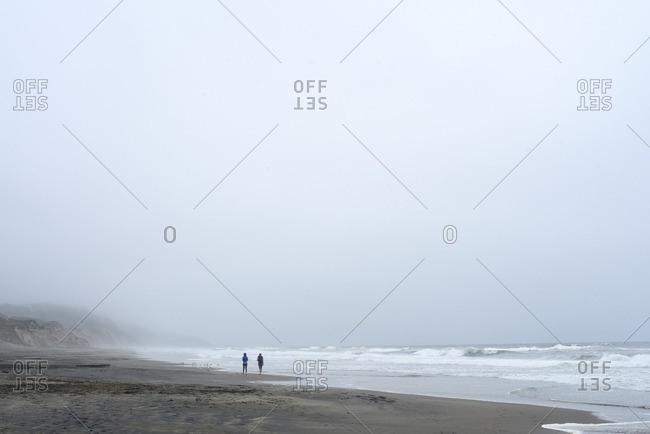 Two people on a foggy beach