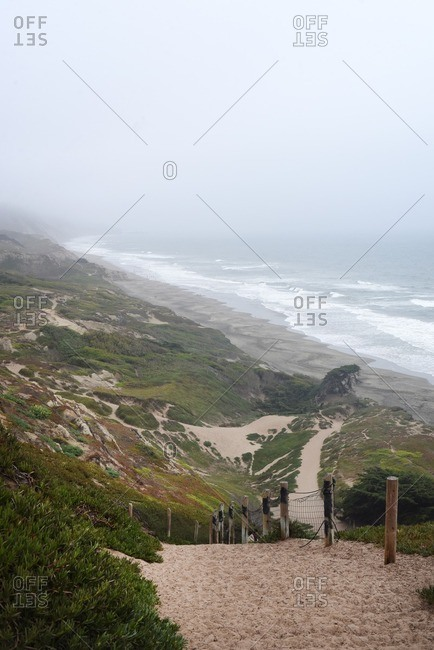 Sandy hiking trails on cliffs above ocean