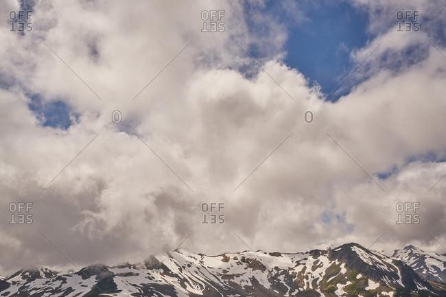 Clouds surrounding the top of Mount Baker, Washington
