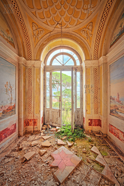 September 22, 2014: Room with balcony in a dilapidated chateau