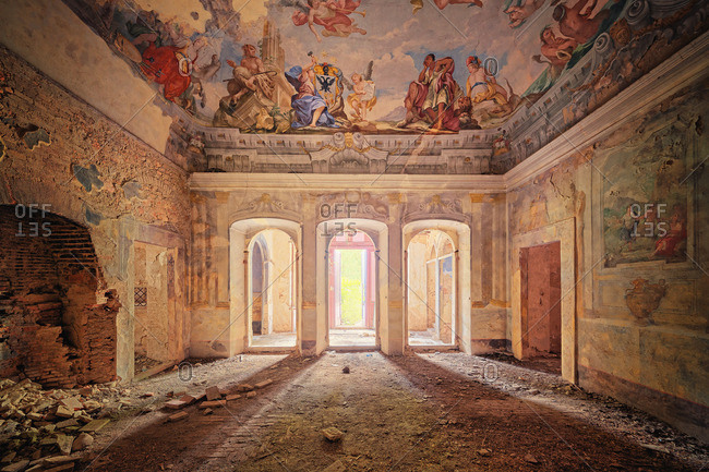 September 23, 2014: Abandoned mansion interior with ceiling painting