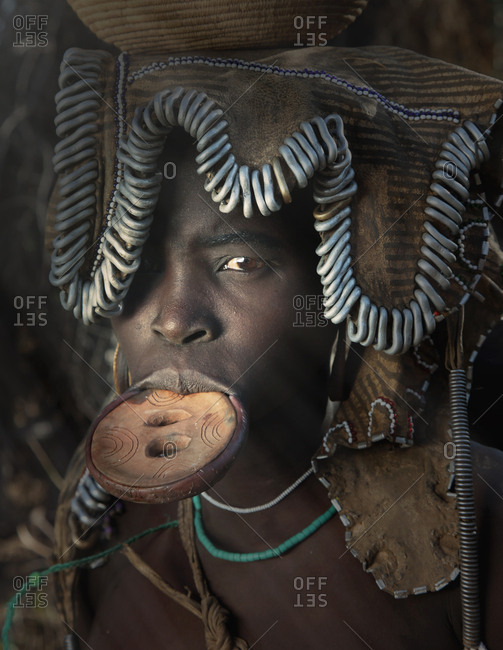 Woman of the Mursi Tribe with disc in her lower lip, Omo Valley, Ethiopia