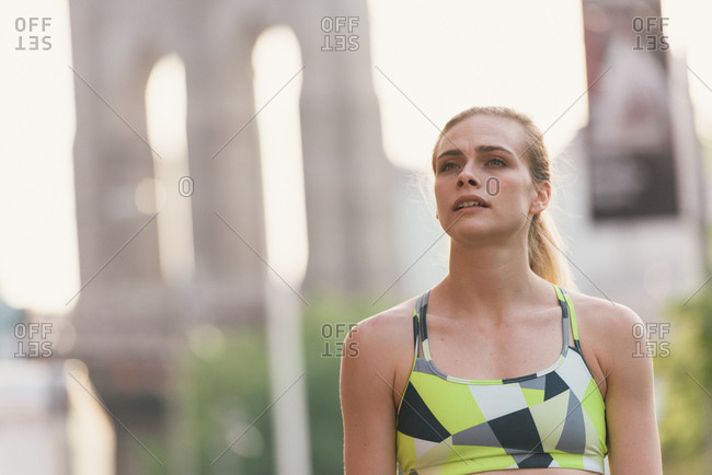 Portrait of young woman wearing sports clothing, Brooklyn, New York, USA