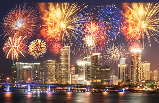 Fireworks over Miami, Florida, USA