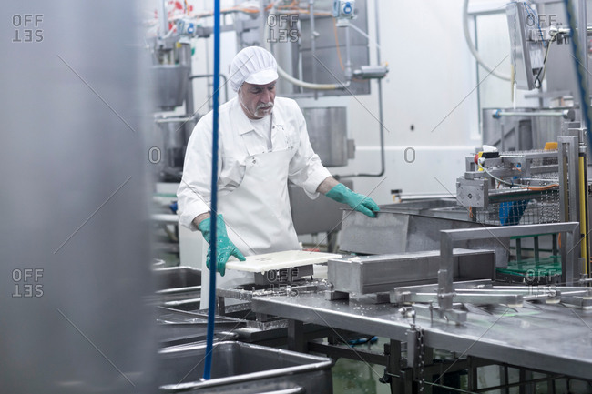 Male worker working in organic tofu production factory