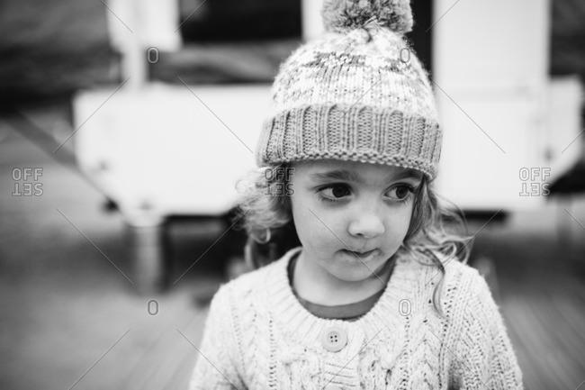 Girl in knitwear looking away