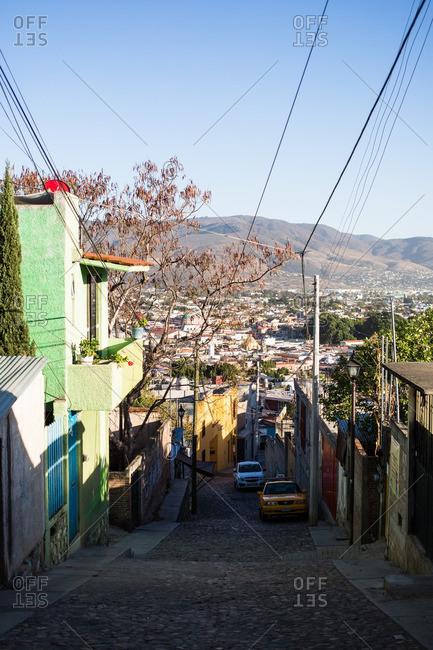 Narrow street in Oaxaca de Juarez, Mexico