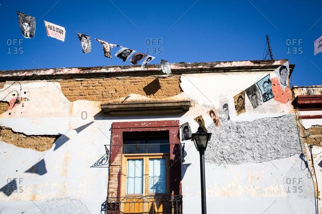2/9/16: Banners on a building in Oaxaca de Juarez, Mexico