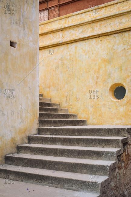 Steps alongside a building in Oaxaca de Juarez, Mexico
