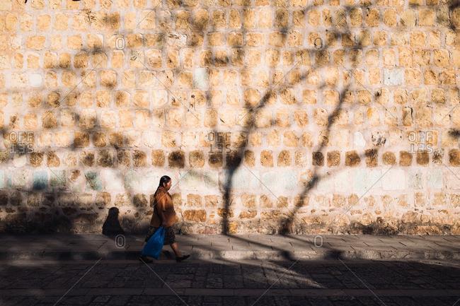 2/10/16: Woman walking along a street in Oaxaca de Juarez, Mexico