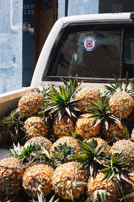 Truck filled with pineapple in Oaxaca de Juarez, Mexico