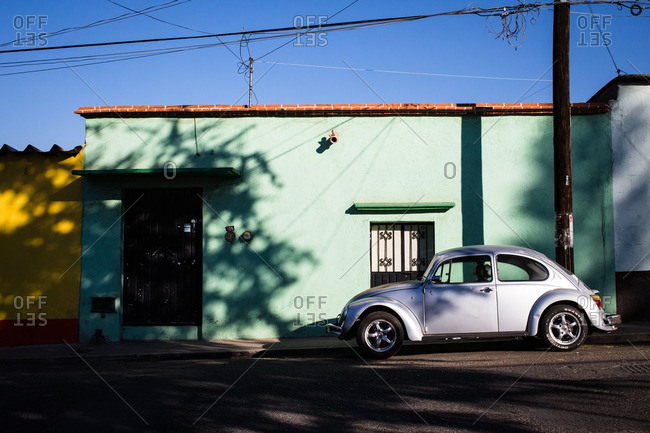 2/13/16: Car parked along the street in Oaxaca de Juarez, Mexico