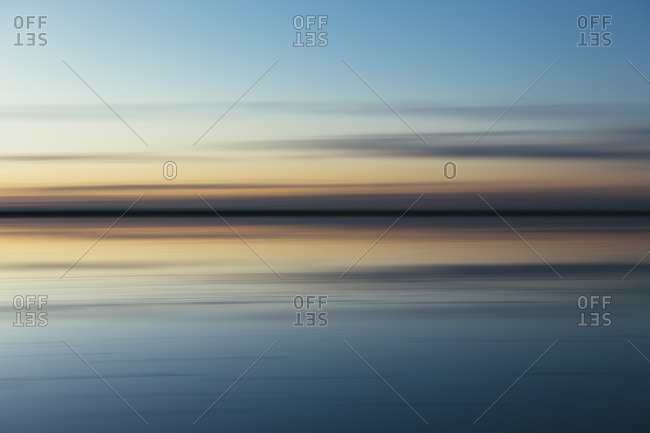 The view across the flooded salt flats at dawn at Bonneville Salt Flats in Utah