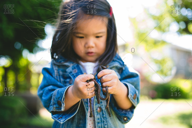Little girl holding a handful of earthworms
