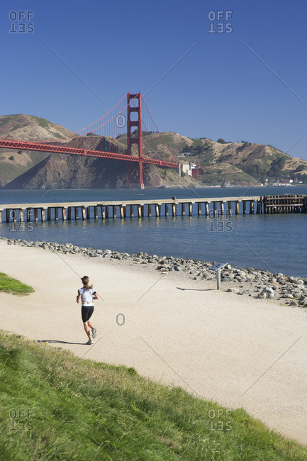 Women jogging near Golden Gate Bridge
