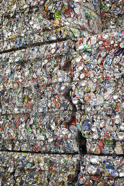 May 18, 2010: Stacks of crushed aluminum at a recycling center