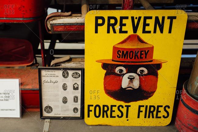 Maine, USA - August 30, 2016: Vintage Smokey Bear sign