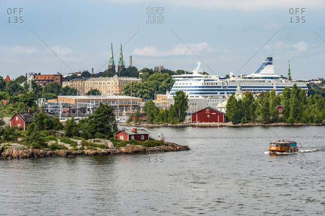 Finland, Helsinki, West Harbour, ferry and cruise liner