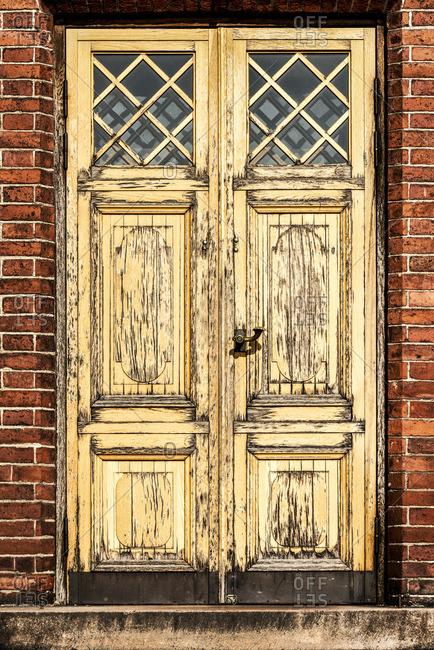 Finland, Helsinki, Uspenski Cathedral, old wooden door