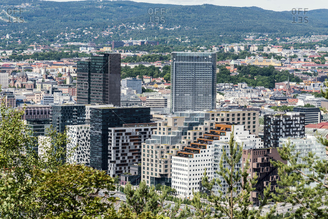 Norway, Oslo, Bjorvika district, Barcode Project, high,rise buildings