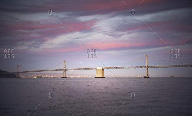 USA, California, Bay Bridge at sunset