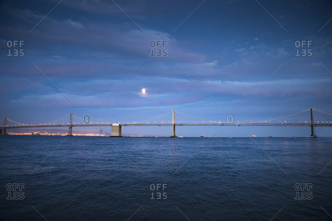 USA, California, Bay Bridge, blue hour
