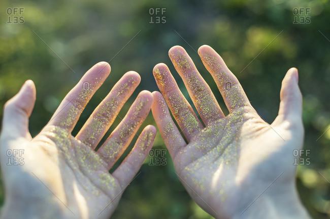 Glittery hands
