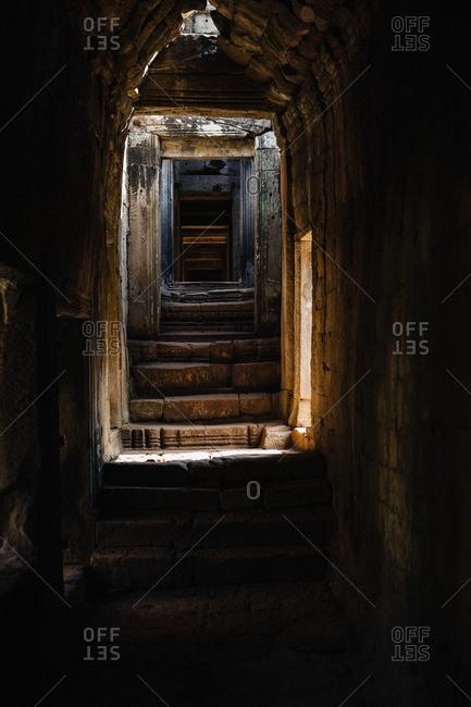 Dark stairwell in Cambodia