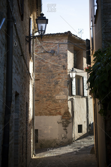 View of the ancient town of Fiorenzuola di Focara, Italy