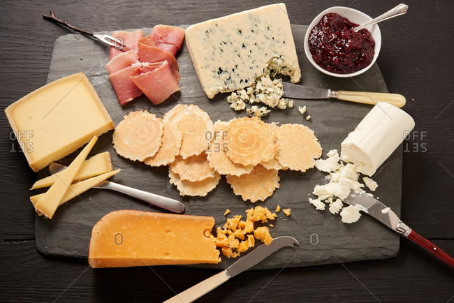 Overhead view of a cheese and charcuterie board