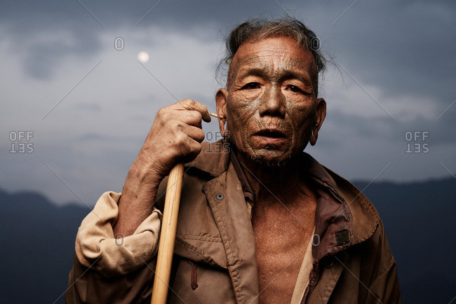 Nagaland, India - January 21, 2016: Man of the Konyak tribe