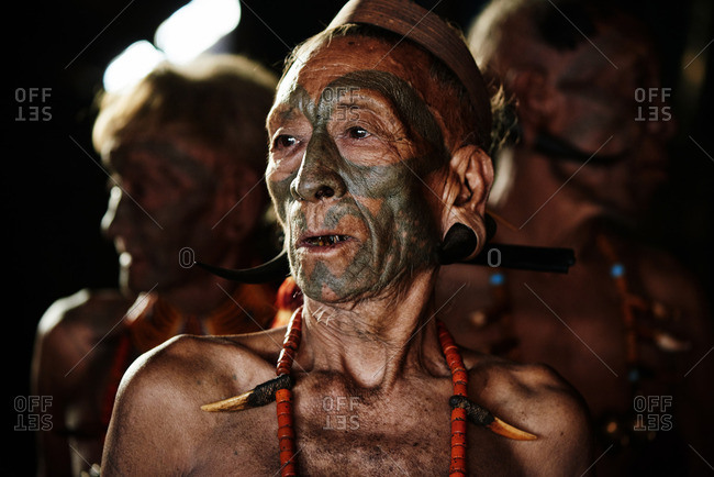 Nagaland, India - January 23, 2016: Men of the Konyak tribe