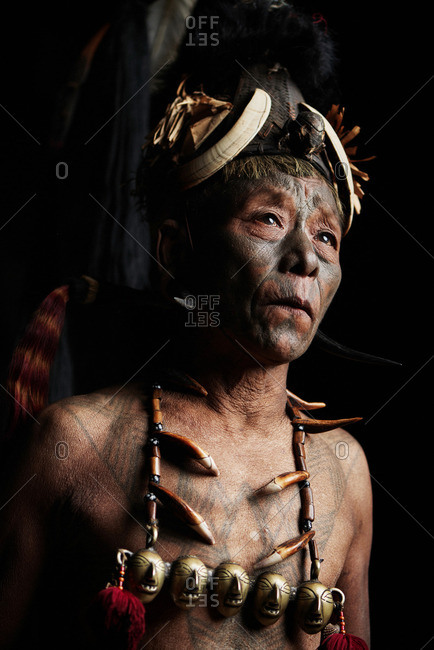 Nagaland, India - January 28, 2016: A man of the Konyak tribe