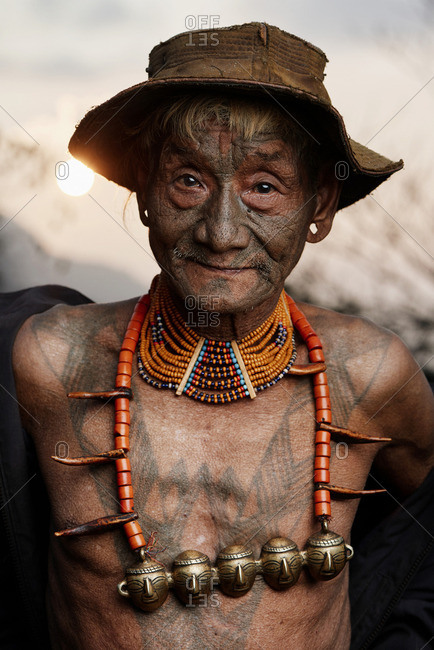 Nagaland, India - January 23, 2016: A Konyak man with hat