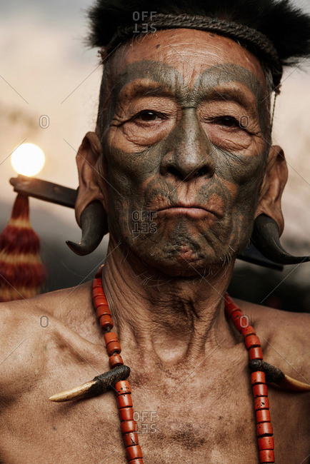 Nagaland, India - January 23, 2016: A Konyak man in portrait