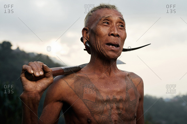 Nagaland, India - January 22, 2016: A Konyak man with knife