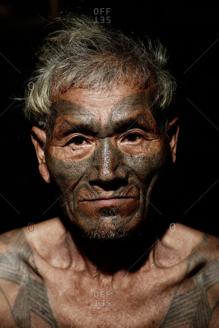 Nagaland, India - January 24, 2016: Portrait of a Konyak man