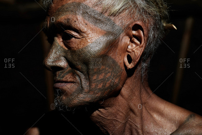 Nagaland, India - January 24, 2016: Konyak man in profile