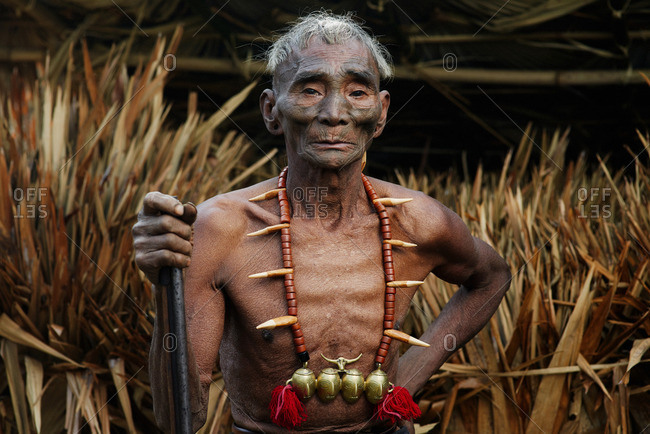Nagaland, India - January 22, 2016: A Konyak man holding stick