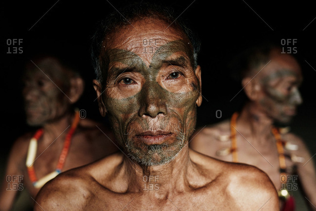 Nagaland, India - January 26, 2016: Three men of the Konyak tribe