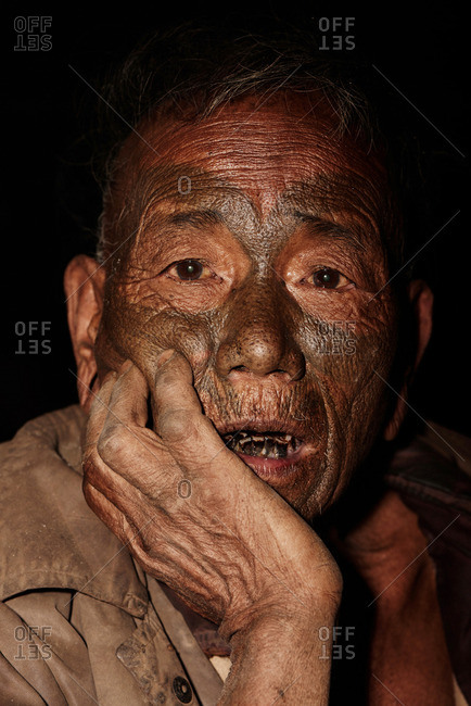 Nagaland, India - January 21, 2016: A Konyak man in close up